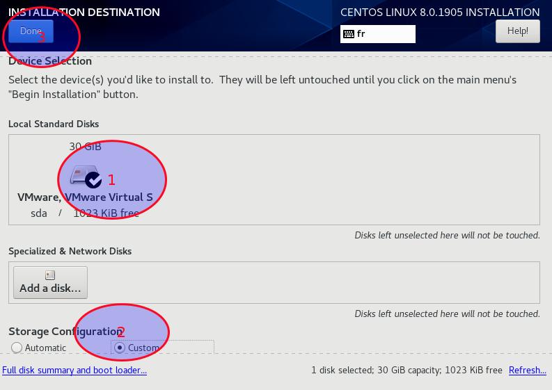 Выберите жесткий диск и пользовательскую конфигурацию