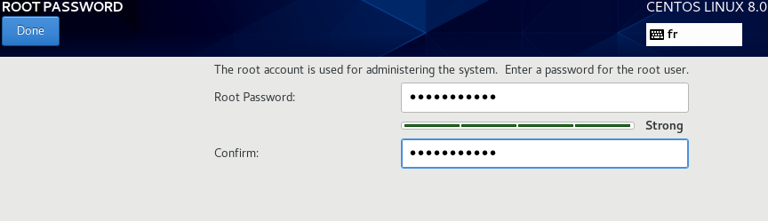 Установите пароль пользователя root