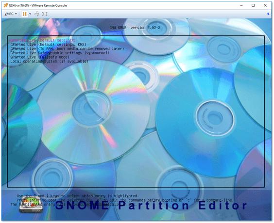 Загрузка GParted LiveCD