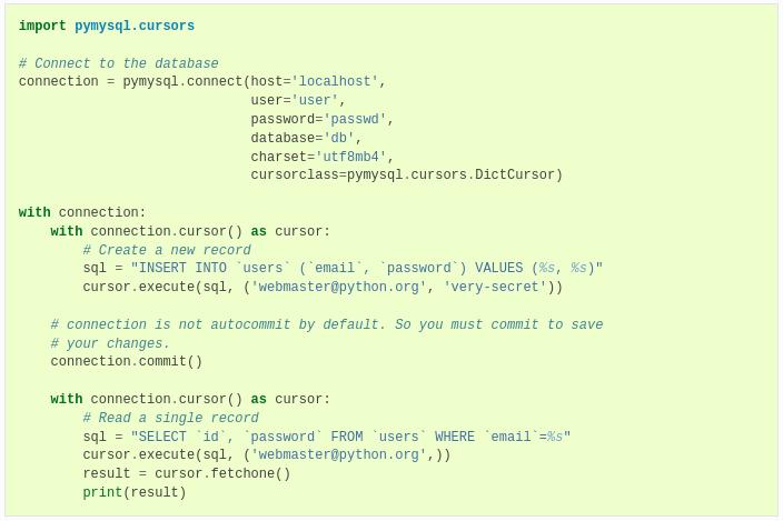 Получаем данные из MySQL таблицы на Python