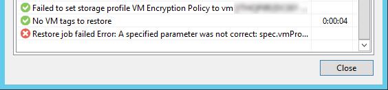 Ошибка в Veeam B&R: Restore job failed Error: A specified parameter was not correct: spec.vmProfile